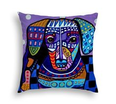 Dachshund Art Pillow - Doxie Weiner Dog - Modern Abstract Art by Heather Galler- 5 Sizes to Choose From