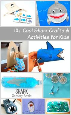 Over 10 cool shark crafts and activities for kids- including shark games, shark sensory play, and more! Ocean Activities, Craft Activities For Kids, Summer Activities, Projects For Kids, Preschool Activities, Creative Activities, Craft Ideas, Sea Crafts, Crafts To Do