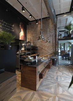 El mostrador en efecto de madera con un vinil o papel tapiz de tabiques en el mismo tono de color y la pared negra!!! Lámparas sobre el mostrador