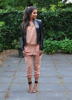 Love these harem pants w/the silk tee and accompanied by the leather jacket.