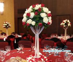 tall floral arrangment with crytals | Martini Vase Hire