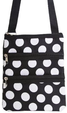 4f64d6a0cf2 Small Hipster Crossbody Shoulder Bag Purse Handbag Black and White Polka  Dot.