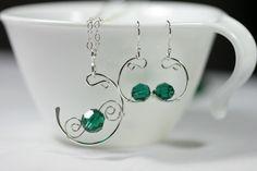 Emerald Necklace Green Swarovski Necklace by JessicaLuuJewelry