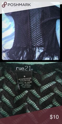 Adorable fringe kimono Black kimono with fringe on the bottom. Adorable over any tank top or t-shirt. It has been worn quite a few times and has several loose threads as reflected in price. Rue21 Tops