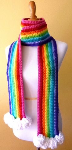 Adult Size Handmade Crocheted Vibrant, Colorful Rainbow Scarf with Fluffy Clouds.  Unisex.