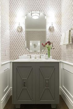 strictly referring to the faces of the cabinet  40 Stylish Powder Rooms- Kim Wiederholt Design Blog