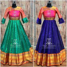 Kurta Designs Women, Blouse Designs, Teja Sarees, Pink Color Combination, Kids Lehenga, Sari Dress, Floor Length Dresses, Western Dresses, Long Blouse