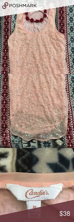 Beautiful Candies Sequin Shirt Pink A beautiful flowing yet fitting sequined pink shirt by candies. Perfect with a pair of jeans I have included a pretty little flower headband just for flavor. Candie's Tops Blouses