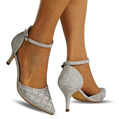 7cc3cb9afd71 Rock On Styles New Ladies Sparkly Diamante Black Silver Ankle Strap Party  Prom Mid Low Heel Court Shoe Size 24-26 (UK 4   EU 37