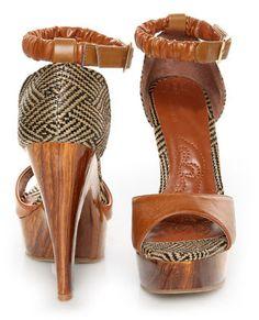 Mona Mia Trinidad Tan Woven Platform Heels