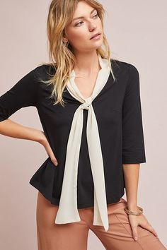ace2124d8066 New Anthropologie Black Kitt Bow Blouse by Paper Crown BLACK  96 Size SMALL   Anthropologie