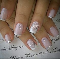 Wedding nails for bride shellac twists 55 ideas French Manicure Gel Nails, Manicure Nail Designs, French Nails, Acrylic Nails, Nail Polish, Bride Nails, Wedding Nails, Pink Holographic Nails, Lace Nails