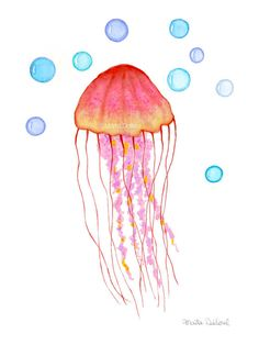 Jellyfish art print. Under the sea nursery kids by MartaDalloul