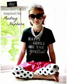 diy stenciled t-shirt inspired by Audrey Hepburn
