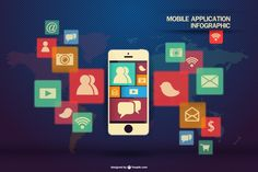 Infographic template mobile application Vector | Free Download