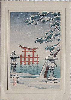 Tsuchiya Koitsu: Torii In The Snow  Japanese Woodblock Print