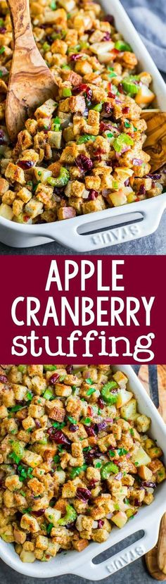 This sweet and savory baked apple cranberry stuffing combines the best of both worlds! Sweet apples and cranberries kissed with cinnamon and baked into a warm Thanksgiving stuffing. Thanksgiving Stuffing, Thanksgiving Side Dishes, Thanksgiving Recipes, Holiday Recipes, Dinner Recipes, Vegetarian Thanksgiving, Fall Recipes, Thanksgiving Fruit, Party Recipes