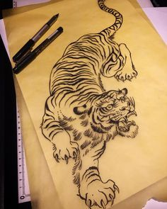 Tiger drawing ready to go - good for thigh, ribs, belly etc . - Tiger drawing ready to go – good for thigh, ribs, belly etc … … tattoo - Tiger Tattoo Thigh, Tiger Tattoo Sleeve, Tiger Tattoo Design, Sleeve Tattoos, Tattoo Designs, Lion Tattoo, Tattoo Ideas, Tiger Tattoo Back, Dragon Tiger Tattoo