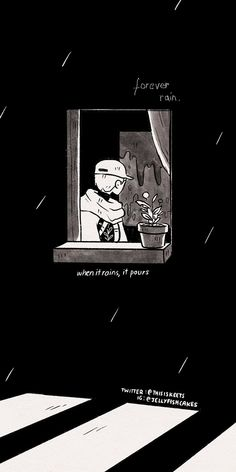 Anime Scenery Wallpaper, Dark Wallpaper, Wallpaper Backgrounds, Rain Wallpapers, Cute Wallpapers, Kawaii Wallpaper, Wallpaper Iphone Cute, Bts Black And White, Bts Lyrics Quotes