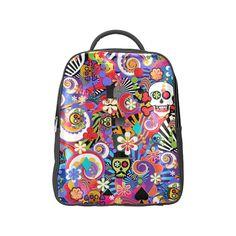 Colorful Sugar Skull Print Backpack by Juleez Popular Backpack (Model 1622).