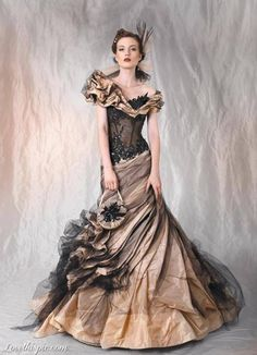Old Fashion Elegance fashion dress vintage old ball formal gown brown ruggle crepe beautifyl