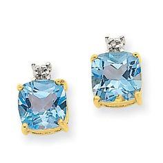 14k Gold Blue Topaz & Diamond Post Earrings