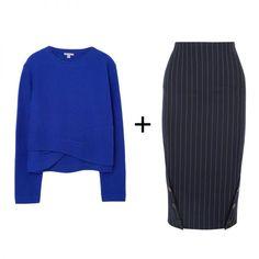 Twisted Detail Jumper, COS $99 Pinstriped Wool Pencil Skirt, Victoria Beckham $1100