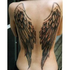 Angel Wing Tattoos for Women on Back Tattoo Designs, Piercing, Body... ❤ liked on Polyvore featuring accessories and body art