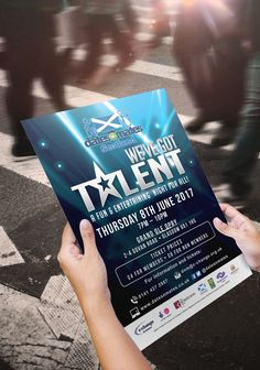 WE'VE GOT TALENT –  Printout A3 poster or flyer for marketing dates-n-mates Scotland's We've Got Talent Show. #graphicdesign #marketing #advertising #branding #events #poster #flyer #printout #print