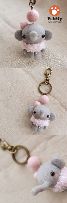 Needle Felted Felting Wool Animals Cute Elephant Craft