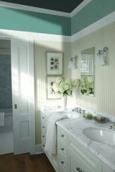 A bathroom oasis BenjaminMoore Italian Ice Green 2035 70 with