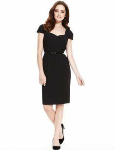 Petite V-Neck Panelled Crêpe Shift Dress with Bow Belt-Marks & Spencer