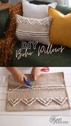 Diy Throws, Boho Throw Pillows, Boho Cushions, Diy Pillows, Decorative Throw Pillows, Sewing Projects, Diy Projects, Diy Pillow Covers, Boho Diy