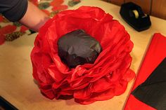 A Giant Magical Paper Poppy Garden? I know–what a strange Tangled Nest post. But somehow I volunteered to make the poppies for the set of Claire's school production of The Magical Lan… Wizard Of Oz Play, Wizard Oz, Flower Costume, Tissue Paper Flowers, Trunk Or Treat, Remembrance Day, Girls Camp, Over The Rainbow, The Wiz