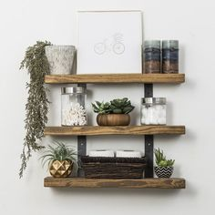 30 Stunning Kitchen Shelf Decor Ideas That You Will Like - Aside from mere places where you will put your containers in the kitchen, the decorative shelves can also help a lot in making this part of your house. Bathroom Wall Shelves, Wall Shelf Decor, Kitchen Shelves, Decorating Bathroom Shelves, Kitchen Shelf Decor, Shiplap Bathroom, Shelves On Wall, Small Wall Shelf, Shelving Decor