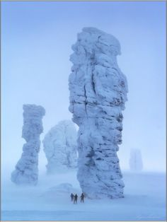 Stone Giants in winter, Northern Ural Mountain, Russia
