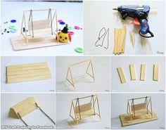 DIY miniature swing for fairy garden: