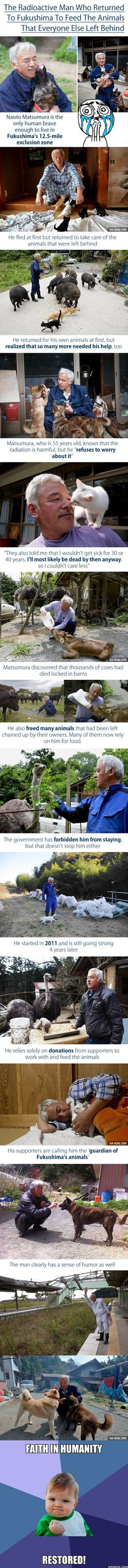 """""""The Guardian of Fukushima's Animals"""" This man is amazing! I am so glad that those animals have someone looking out for them <3"""