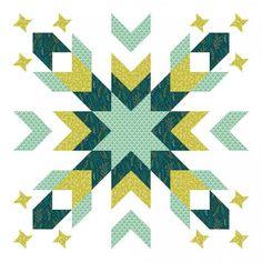 Green Starburst Geometric Design Baby Quilt @ShopStitched