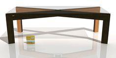 Julio 2016. Mesa INSPIRATION WZ - Estilo CRISOL. Diseñado por Ernesto Oñate. EO DESIGN. Combinación de madera maciza de Zebrano y Wengué con pieza de unión de acero inoxidable pulido y tablero de vidrio templado.