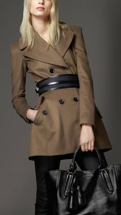 Love this: Fitted Wool Cashmere Pea Coat @Lyst