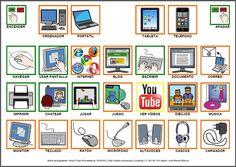 """Informática para Educación Especial: Tablero de comunicación aumentativa con pictogramas """"Vamos a utilizar nuevas tecnologias""""."""