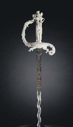 Sword cm: Ivory and steel) Netherlands second half of c. Hilt of this sword depicts the rescue of Andromeda by Perseus Swords And Daggers, Knives And Swords, Katana, Knife Aesthetic, Pretty Knives, Cool Swords, Sword Design, Medieval Weapons, Fantasy Weapons