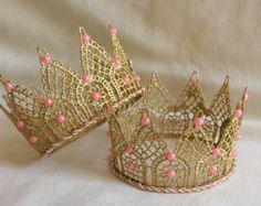 Items similar to GOLD LACE Crown/cake Topper/Photography Prop/Princess Crown/Gold Crown/handmade/Cake Mash Topper/eady to ship on Etsy Diy Cake Topper, Birthday Cake Toppers, Bead Studio, Red Carpet Party, Lace Crowns, Diy Crown, Machine Embroidery Applique, Gold Crown, Newborn Photography Props