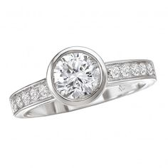 Semi-Mount Diamond Ring $1,535 Style: 115011-100 Diamond Engagement Ring in 14kt White Gold with a Bezel Center. (D.1/4 carat total weight) This item is a SEMI-MOUNT and it comes with NO CENTER STONE as shown but it will accommodate a 6.5mm round center stone.