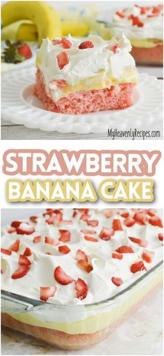Strawberry Banana Cake- delicious summer cake to make! Summer dessert that is a pretty layered cake. Easy using a box cake! Summer Cakes, Summer Desserts, No Bake Desserts, Strawberry Banana Cakes, Strawberry Desserts, Yummy Snacks, Delicious Desserts, Instant Banana Pudding, Cake Recipes