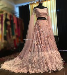 Baby pink train feather Lehenga with cape sleeves – Ricco India Indian Fashion Dresses, Indian Gowns Dresses, Dress Indian Style, Indian Designer Outfits, Indian Designers, Fashion Outfits, Indian Wear, Evening Dresses, Indian Wedding Gowns