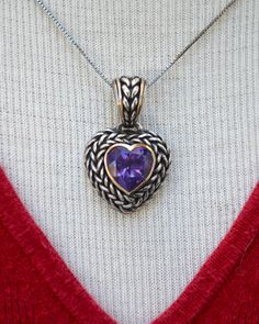 Amethyst and Sterling Basketweave Design Heart by HighClassHighway, $42.00