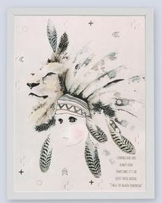 Fine art print One Sonny Day. Australian kids and children's art. crosses, stars, embossing, feathers, lion, feather headdress, spirit animal, guardian lion. Perfect for wall art, little girls or boys bedroom deco, children kids gifts, christening, baby shower, christmas present. Water colour, painting, quote