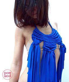collana macramé blu in stoffa, blue fabric macrame necklace, gioielli, collana, accessori stoffa, jewelry, necklace, accessories, fabric